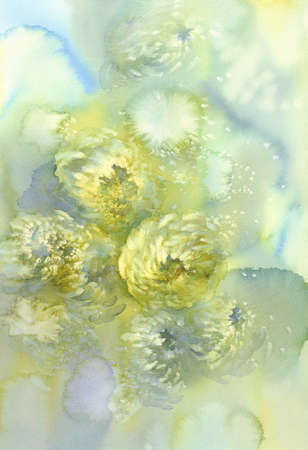 Chrysanthemum flowers watercolor background. Abstract salt made marble background.