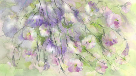 Rose meadow flowers in the wind watercolor background Stock fotó