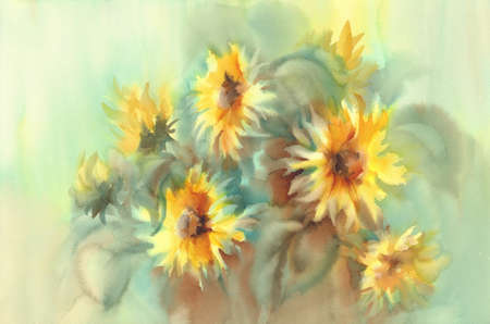 Sunny sunflowers on the yellow and green background watercolor Stock fotó