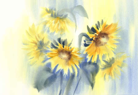 Sunny sunflowers on the yellow and blue background watercolor Stock fotó