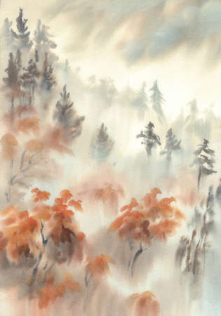 Autumn light in the mountain mist watercolor landscape