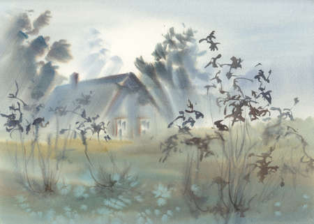 Countryside landscape in the morning fog watercolor