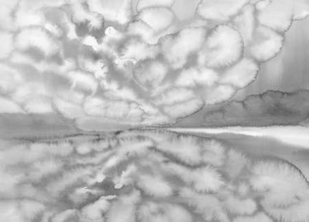 Grey landscape with clouds under the lake and reflections watercolor. Abstract background Stock fotó