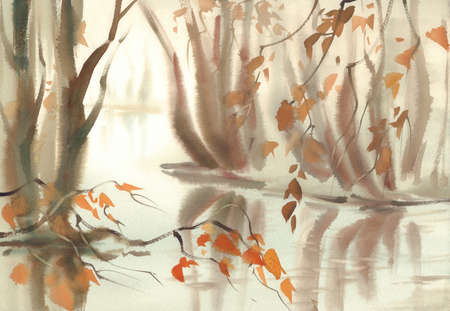 Autumn landscape with trees under the pond. Misty watercolor