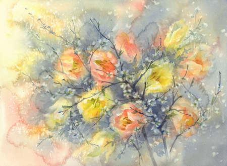 yellow and orange tulips with cherry flower branches watercolor