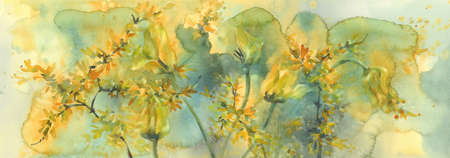 sear yellow tulips watercolor background, dying flowers Stock fotó