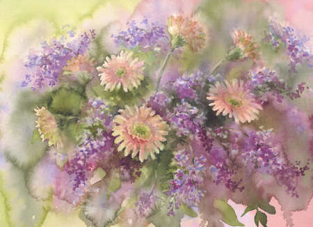 violet lilac branches and daisy flowers watercolor background