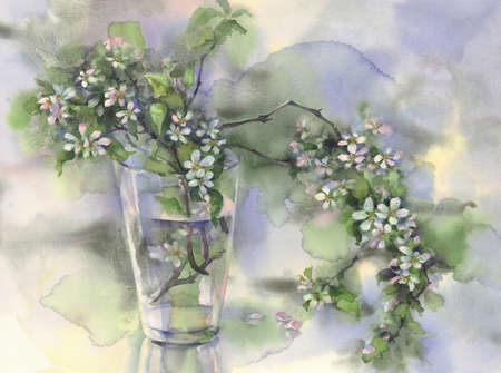 apple tree branches bloom in a glass vase watercolor background Stock fotó