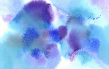 blue and violet colour spots abstract watercolour background Stock fotó