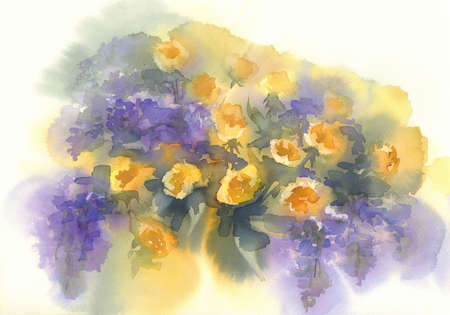Yellow roses with violet lilac branches watercolor background