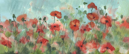 red poppies in the rain watercolor background Stock fotó