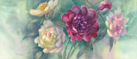color peonies with a bud watercolor background Stock fotó