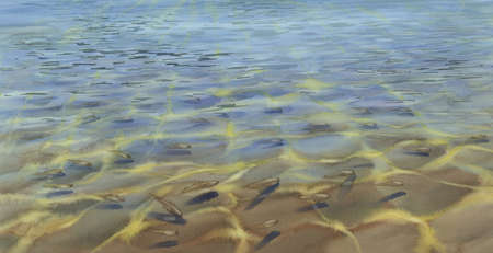 transparent sea water with fishes watercolor background Stock fotó