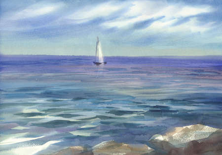 blue seascape with a sail watercolor background