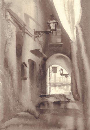 Old town sketch in sepia watercolor background Stock fotó