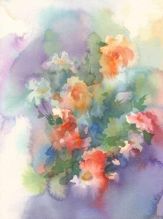 Summer meadow flowers watercolor background. Birthday card Stok Fotoğraf