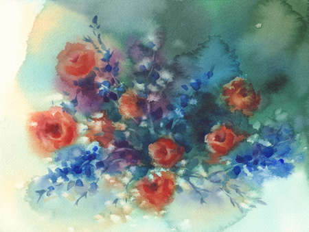 Red roses and blue flowers watercolor background