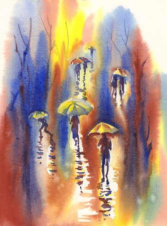 Color umbrellas in the rain watercolor background.
