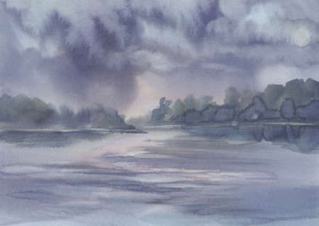 Stormy clouds over the lake watercolor background Stock Photo