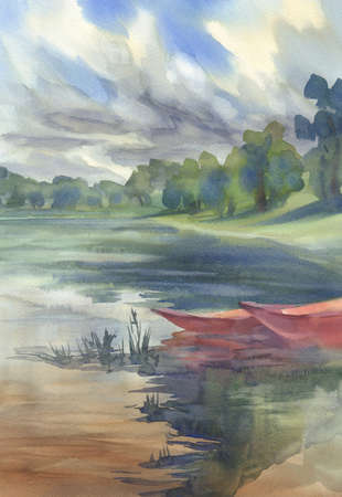 Landscape with red boats watercolor background. Summer vacations