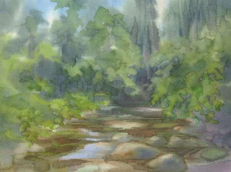 Forest landscape with stones watercolor background. Green summer Reklamní fotografie