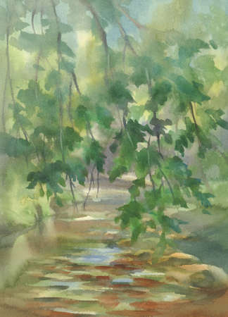 Forest landscape with stones watercolor background. Green summer illustration Фото со стока - 130799937