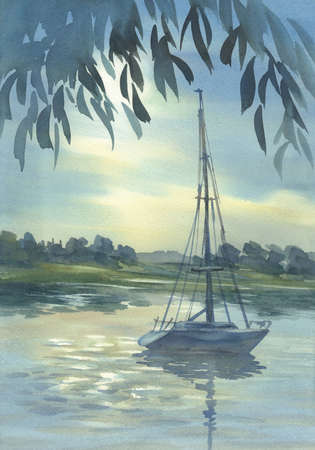 Landscape with a yacht watercolor background. Summer vacations