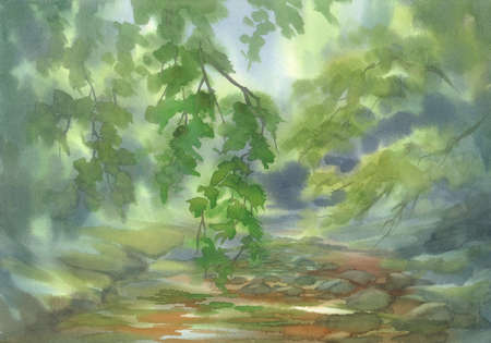 Forest landscape with stones watercolor background. Green summer Stok Fotoğraf