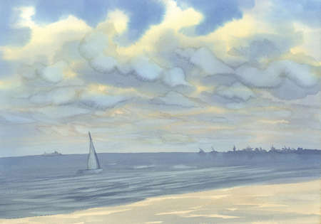 Seascape with a yacht watercolor background. Summer vacations