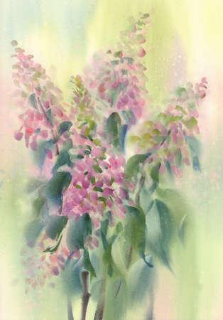 A bouquet of pink flowers, hydrangeas watercolor illustration Foto de archivo - 130767609