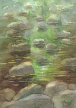 A river with stones in the woods, watercolor illustration Stok Fotoğraf