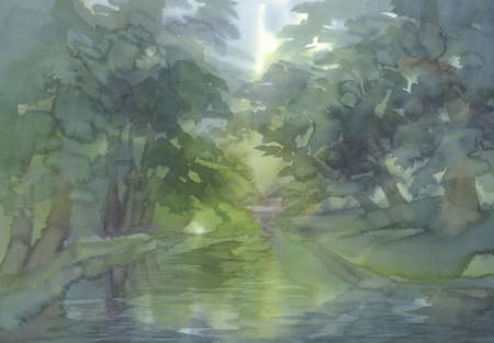 Forest landscape with a river watercolor background. Green summer Stok Fotoğraf