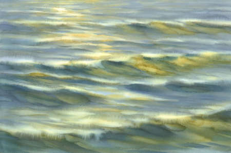 Evening colors by the sea watercolor background