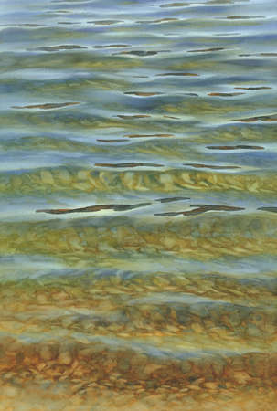 Sunny water with transparent waves watercolor background