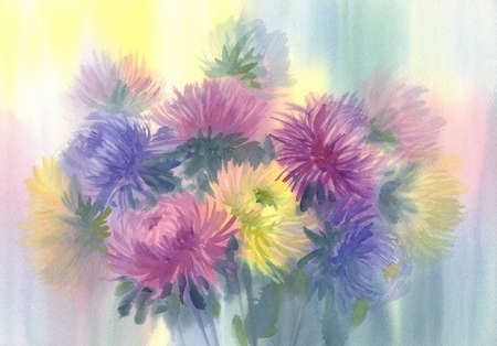 A bouquet of color asters watercolor background