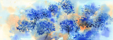 a bouquet of blue flowers, hydrangeas watercolor illustration. Autumn flowers Banque d'images - 130799319
