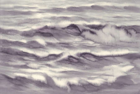 sea light in black and white watercolor background Stock Photo
