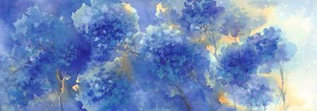 a bouquet of blue flowers, hydrangeas watercolor illustration. Autumn flowers