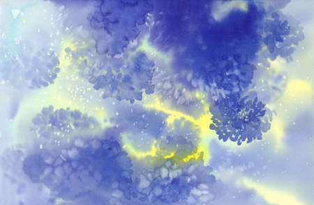 Blue cloudy abstract watercolor background with yellow light