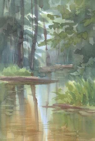 Forest landscape with a river watercolor background. Autumn landscape