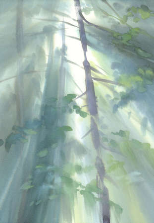 Autumn light in the forest watercolor landscape