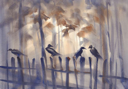 Cows in the misty forest watercolor illustration.