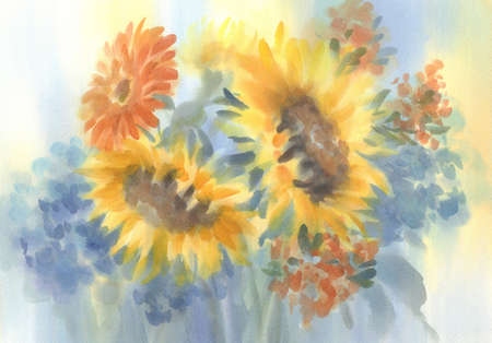 a bouquet of sunflowers on blue watercolor background Stockfoto