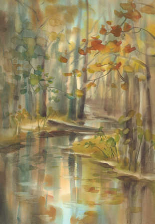 Autumn light in the forest watercolor landscape. Sun rays in the mist Imagens