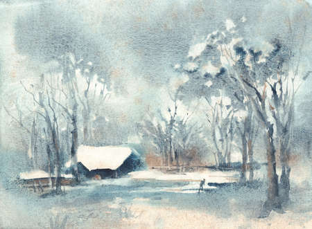 Watercolor landscape. Lighted windows in homes of quiet snowy winters night