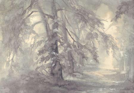 Landscape with trees in grey watercolor background. Vintage illustration Banque d'images - 144169098