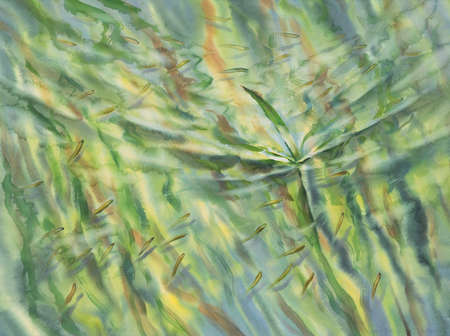 Sunny green water with transparent waves watercolor