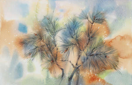 Pine tree branches on the orange evening watercolor background