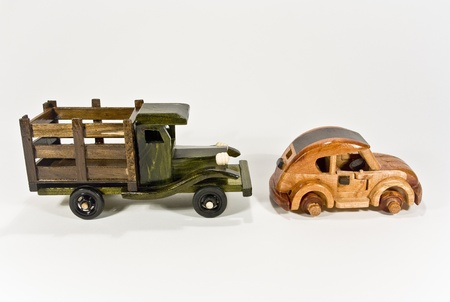 wooden fender-bender cars photo