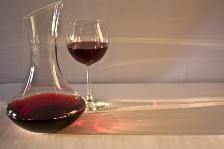 carafe: a carafe of red wine and a glass Stock Photo